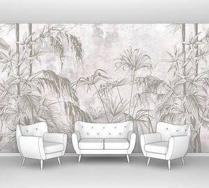 Рисованные тропические листья и цветы