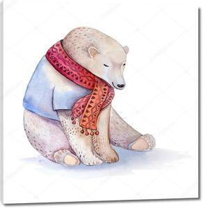 Акварельный медведь в красном шарфе
