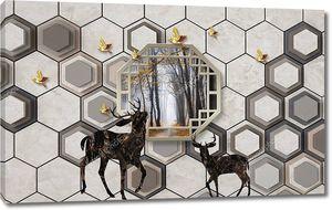 3d иллюстрация, серый фон, шестиугольники, золотые птицы, темные абстрактные олени, шестиугольная рама с пейзажем внутри