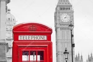 красная телефонная будка и Биг Бен в Лондоне