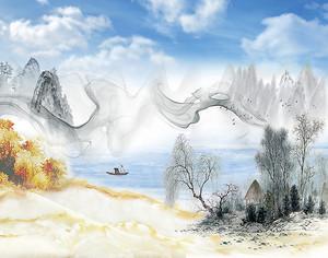 Абстрактный дым над рекой