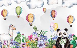 Лама с пандой и воздушными шарами