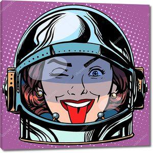 Эмодзи лицо женщины астронавта ретро