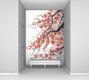 Акварельная живопись. Филиалы цветет вишня