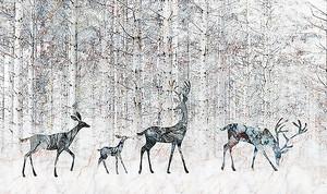Олени на фоне леса