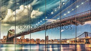 Бруклинский мост Парк, Нью-Йорк. Манхэттен на лето