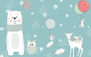Белый мишка с совой и олененком