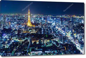 Горизонт Токио ночью