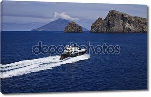Италия, Сицилия, panaresa остров, роскошные яхты, вид сверху