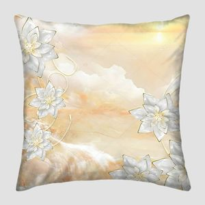 Мраморный фон, восход солнца, серебристые цветы