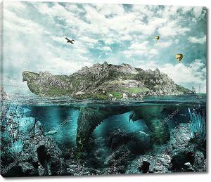 Огромная черепаха в океане