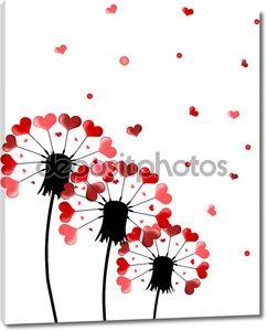 Три одуванчики и семена форму сердца на белом