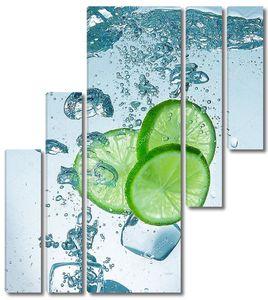 Лайм в воде и  кубики льда