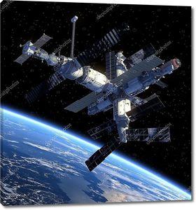 Космическая станция над Землей