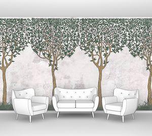 Рисованные деревья на бетонной стене