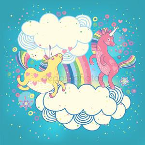 карта с милый единорог Радуга в облаках