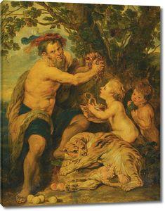 Рубенс. Пьяный мужчина с путти и тигром
