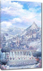 Вид на зимний горный пейзаж с замком