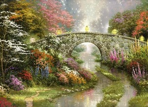 Кирпичный мостик в лесу