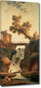 Робер Гюбер. Пейзаж с водопадом.