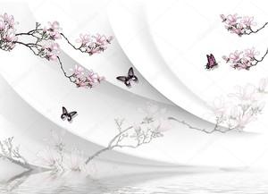 Цветущие ветви, бабочки, вода