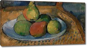 Поль Сезанн. Тарелка фруктов на стуле