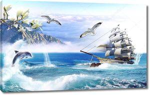 Парусник и дельфины выпрыгивающие из воды