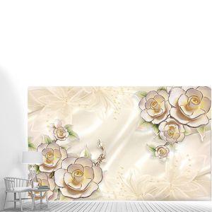 Цветы с серебряной каймой на шелке