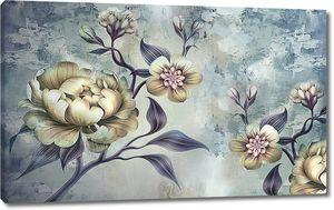 Цветы на неровном голубоватом фоне