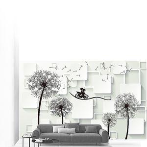Одуванчики на белом фоне