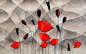 Абстрактные красные и черные маки на темном волнистом фоне