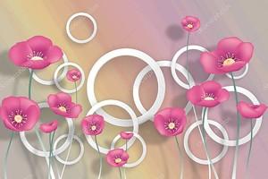 Белые кольца, розовые маки