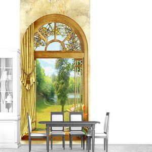 Фреска с живописным видом из окна