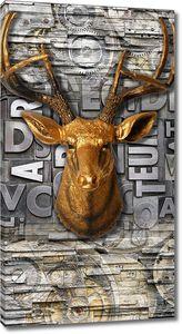 Голова оленя на винтажной стене