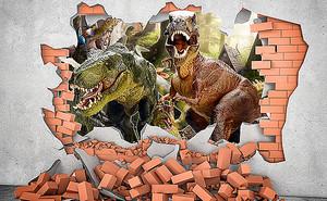 Динозавры в проломе стены