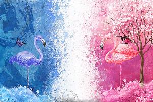 Розовый и синий фламинго