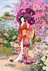 Японка в цветущем саду