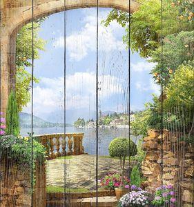 Прекрасная терраса с деревьями и цветами