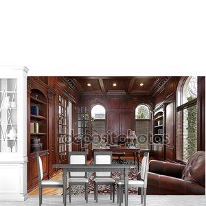 Библиотека с вишни деревянные панели