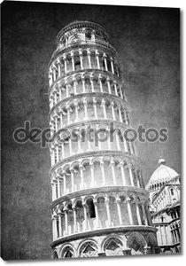 старинные изображения падающая башня в Пизе, Италия