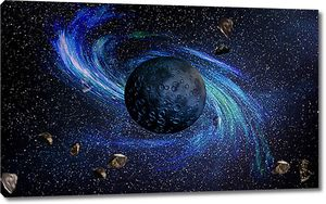 Спиральная галактика за планетой