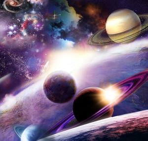 Фиолетовое космическое небо