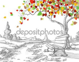 осеннее дерево, падающие листья
