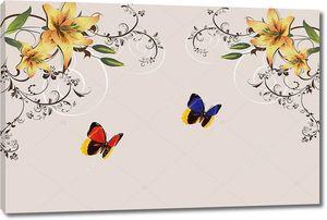Бежевый фон с двумя крупными бабочками и лилии