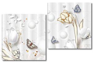 Белые бабочки  из бумаги , белые и бежевые тюльпаны