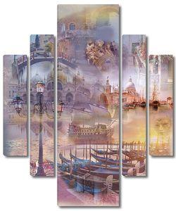 Коллаж с различными видами Венеции