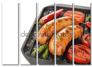 Колбаски на сковороде гриль