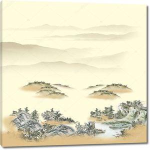 Пейзажный фон, лесистые холмы в тумане