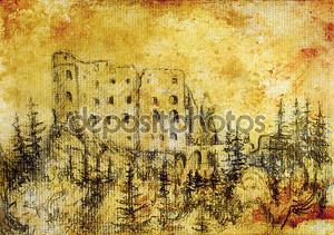 Средний замок в лесу, опираясь на старой бумаге и сепия ретро структуры
