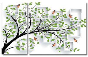 Зеленая ветка с птицами